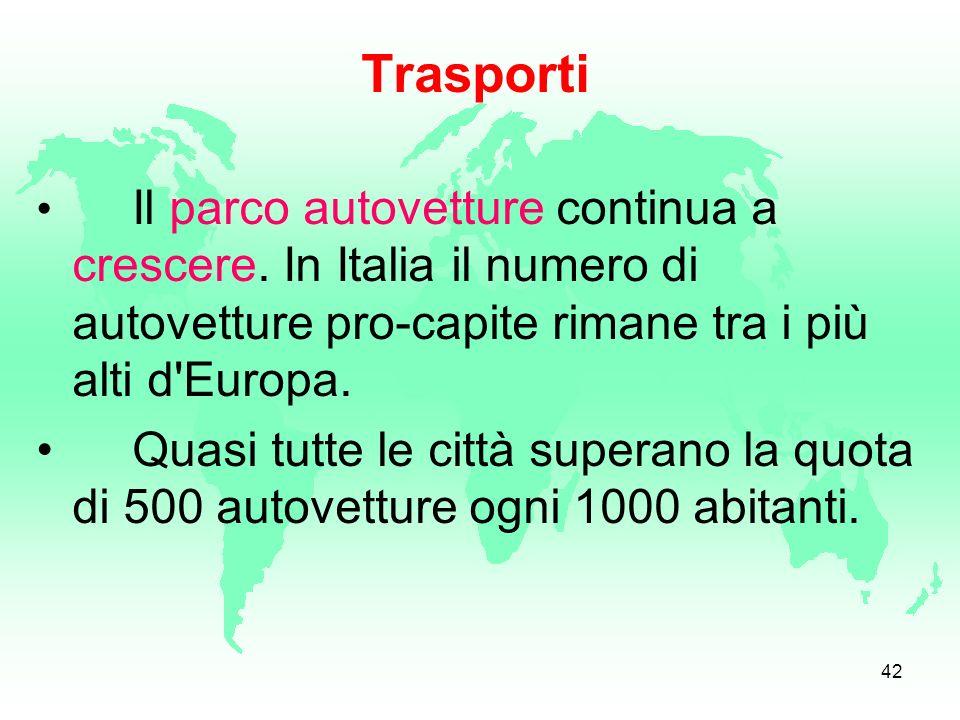 Trasporti Il parco autovetture continua a crescere. In Italia il numero di autovetture pro-capite rimane tra i più alti d Europa.