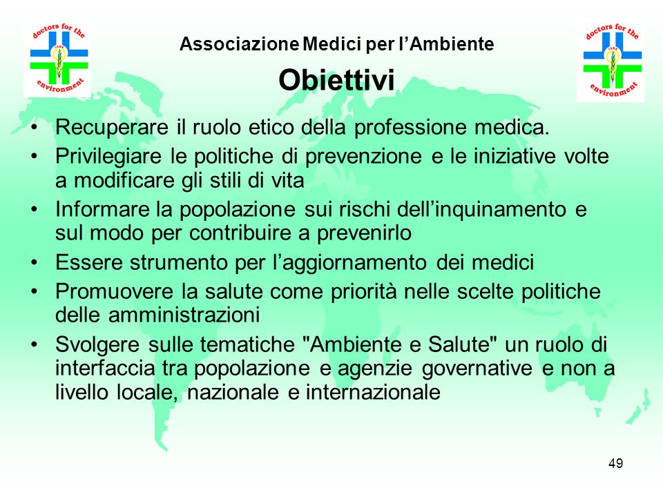 Associazione Medici per l'Ambiente Obiettivi