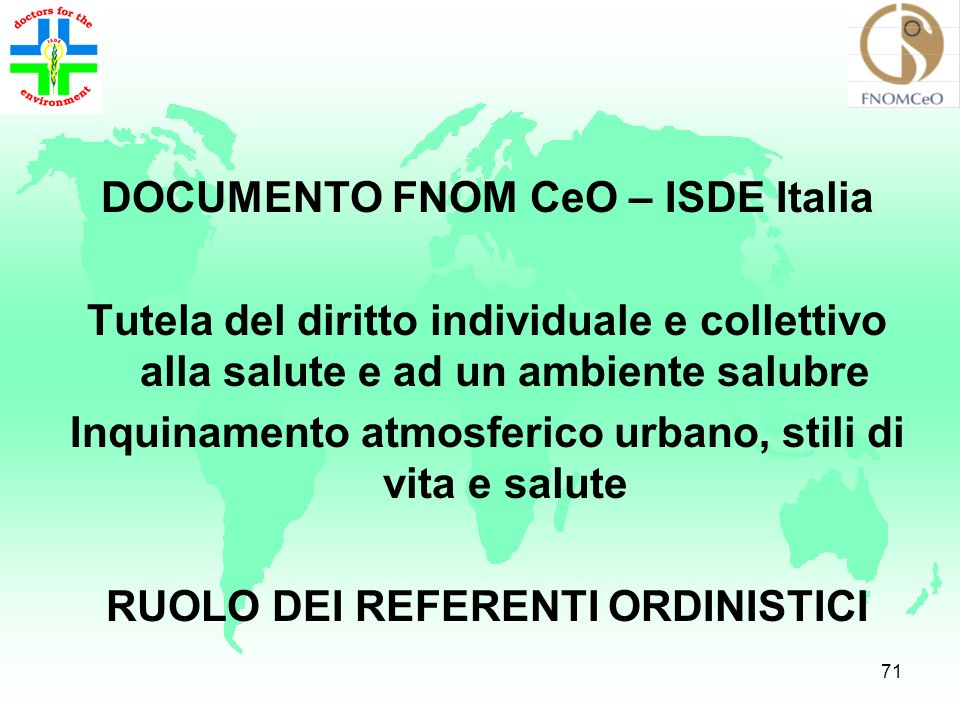 DOCUMENTO FNOM CeO – ISDE Italia