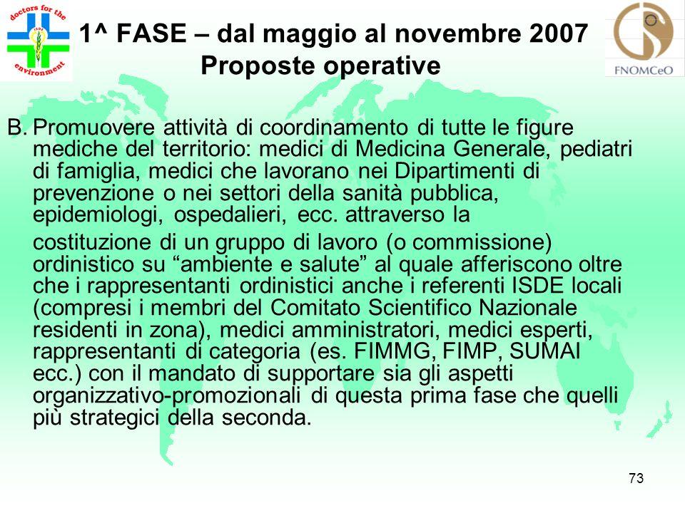 1^ FASE – dal maggio al novembre 2007