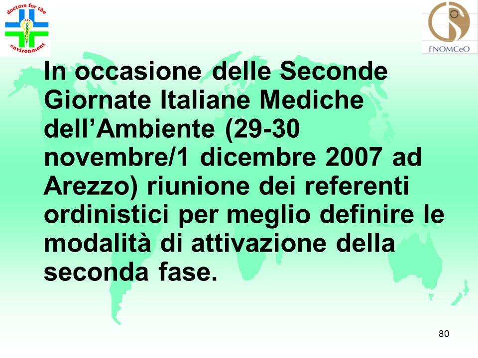 In occasione delle Seconde Giornate Italiane Mediche dell'Ambiente (29-30 novembre/1 dicembre 2007 ad Arezzo) riunione dei referenti ordinistici per meglio definire le modalità di attivazione della seconda fase.
