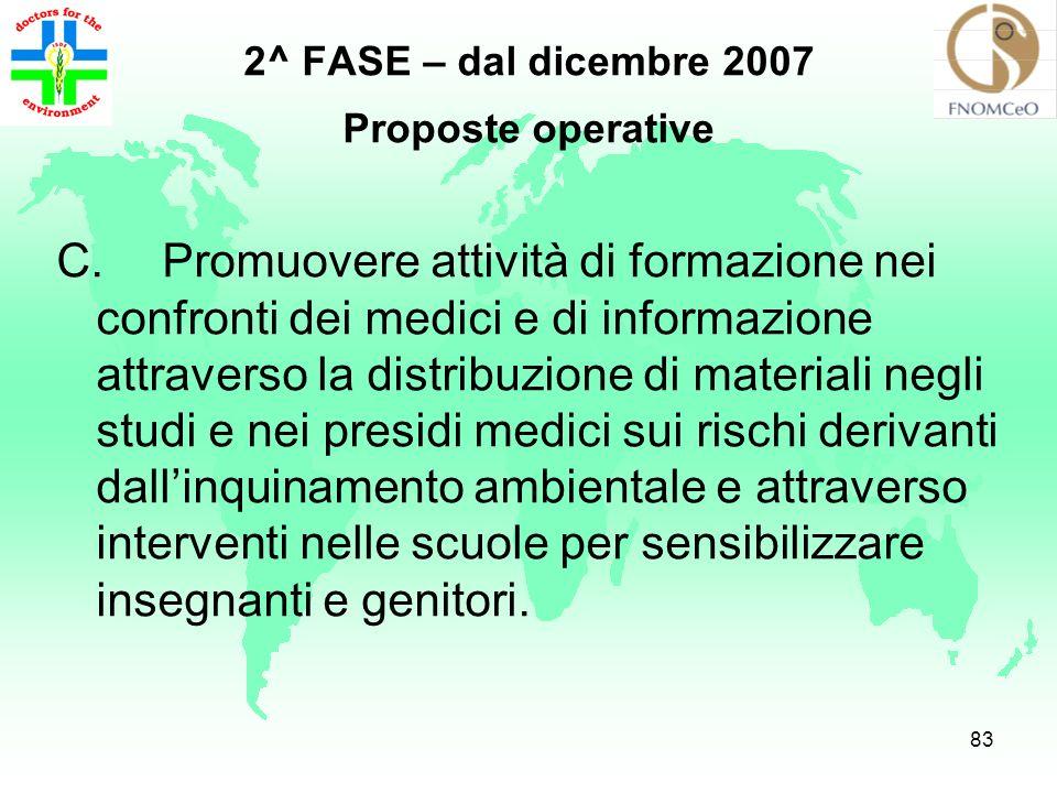 2^ FASE – dal dicembre 2007 Proposte operative.