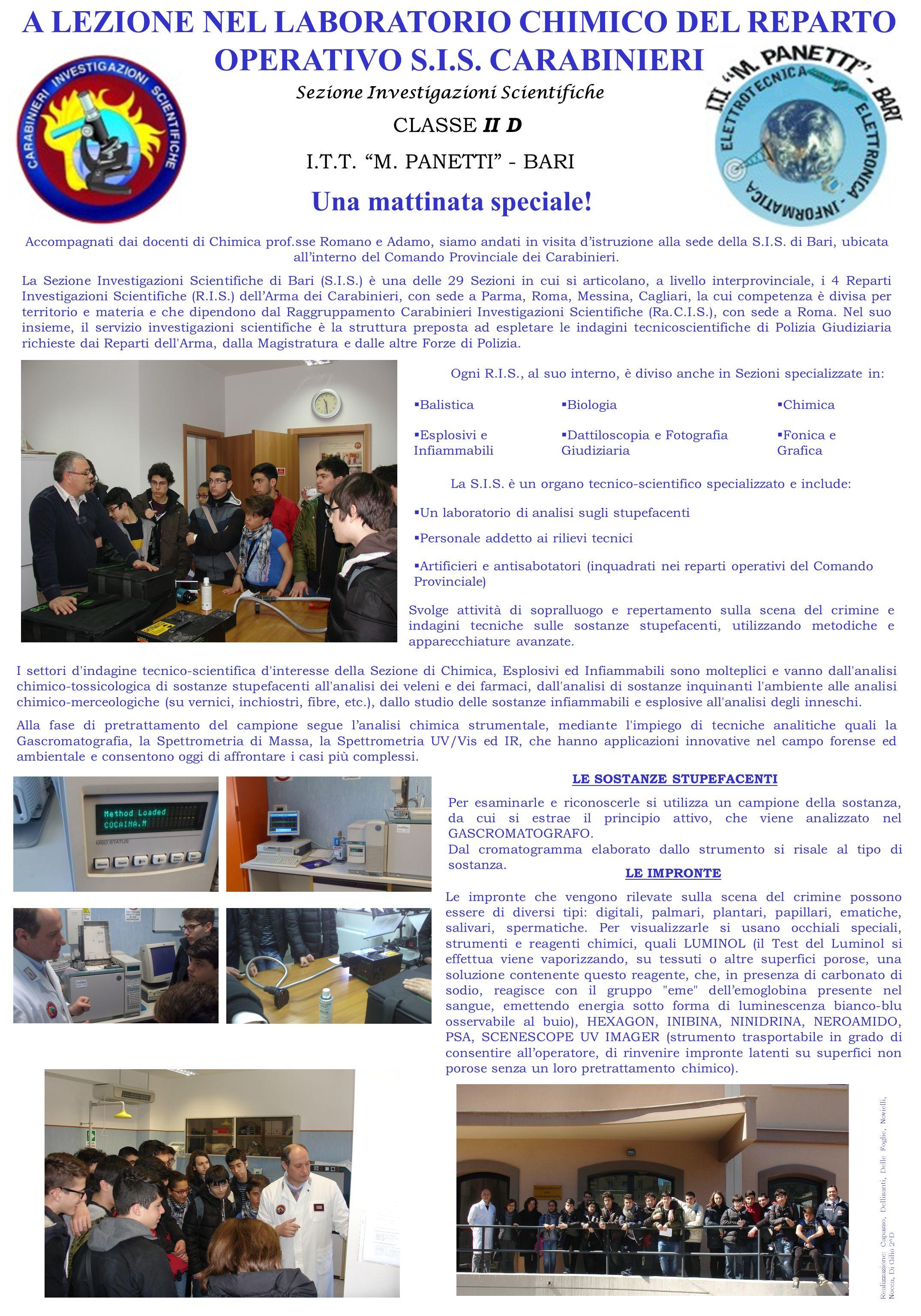 A LEZIONE NEL LABORATORIO CHIMICO DEL REPARTO OPERATIVO S. I. S