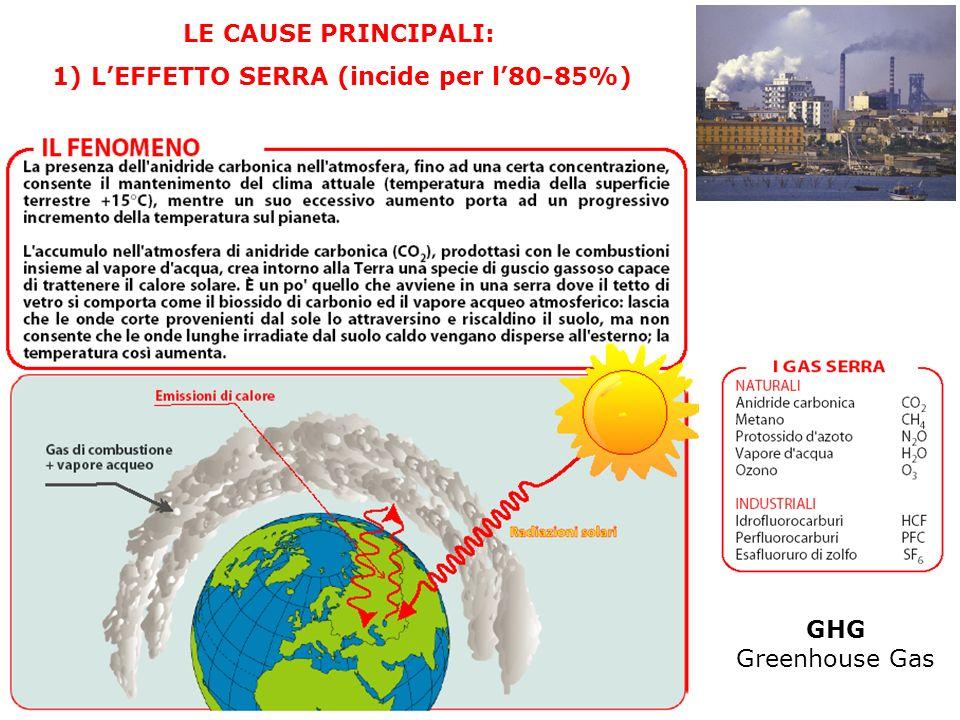 LE CAUSE PRINCIPALI: 1) L'EFFETTO SERRA (incide per l'80-85%) GHG Greenhouse Gas