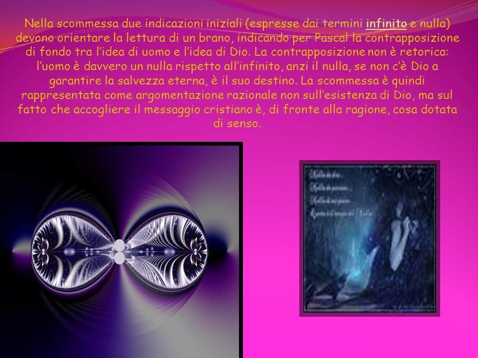 Nella scommessa due indicazioni iniziali (espresse dai termini infinito e nulla) devono orientare la lettura di un brano, indicando per Pascal la contrapposizione di fondo tra l'idea di uomo e l'idea di Dio.
