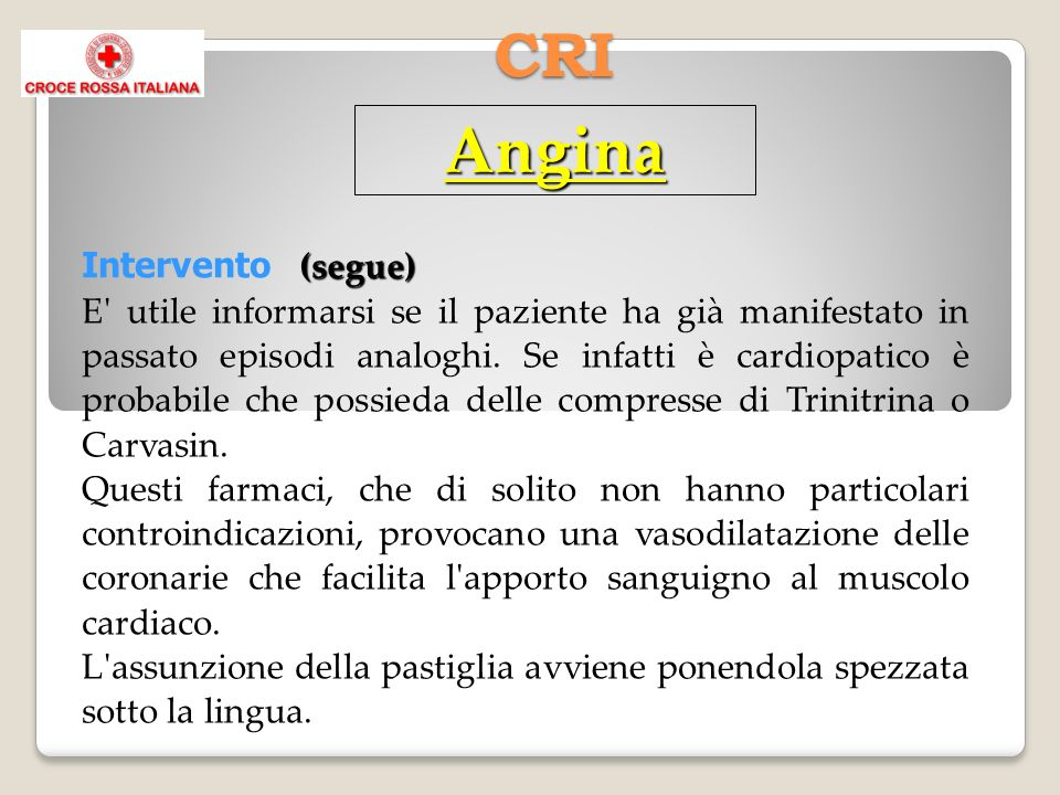 Angina CRI Intervento (segue)