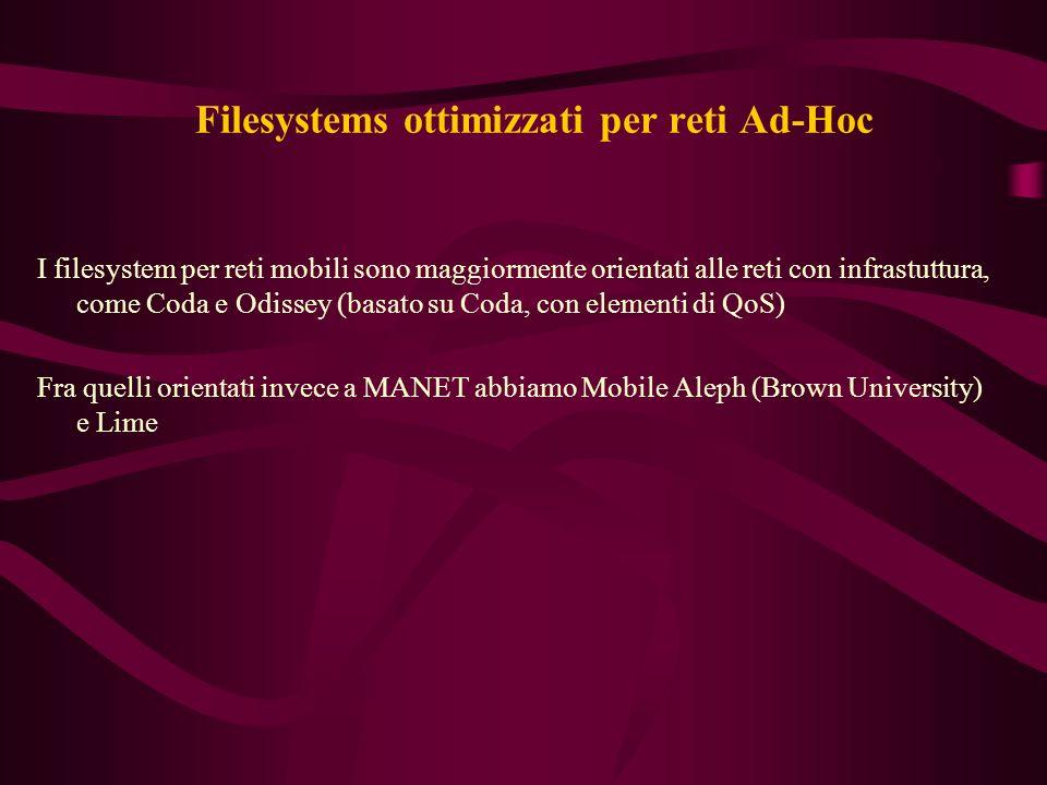 Filesystems ottimizzati per reti Ad-Hoc