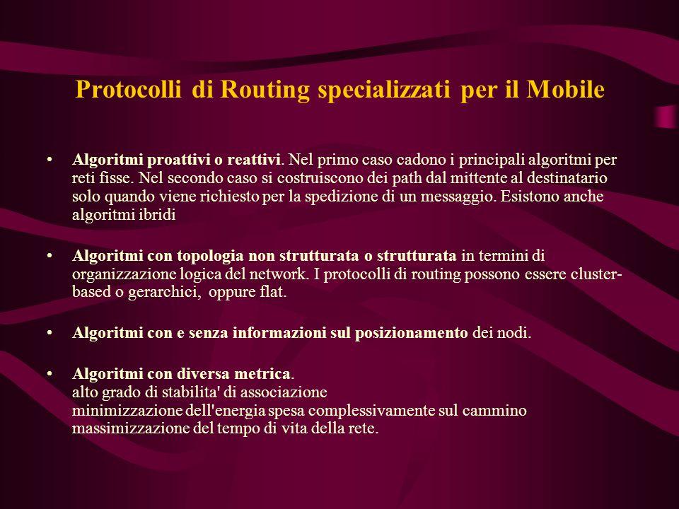 Protocolli di Routing specializzati per il Mobile