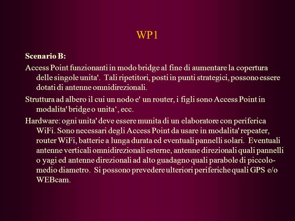 WP1 Scenario B: