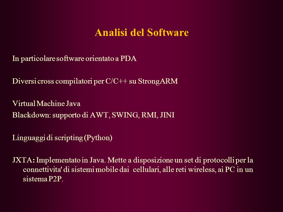 Analisi del Software In particolare software orientato a PDA