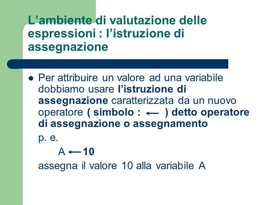 L'ambiente di valutazione delle espressioni : l'istruzione di assegnazione
