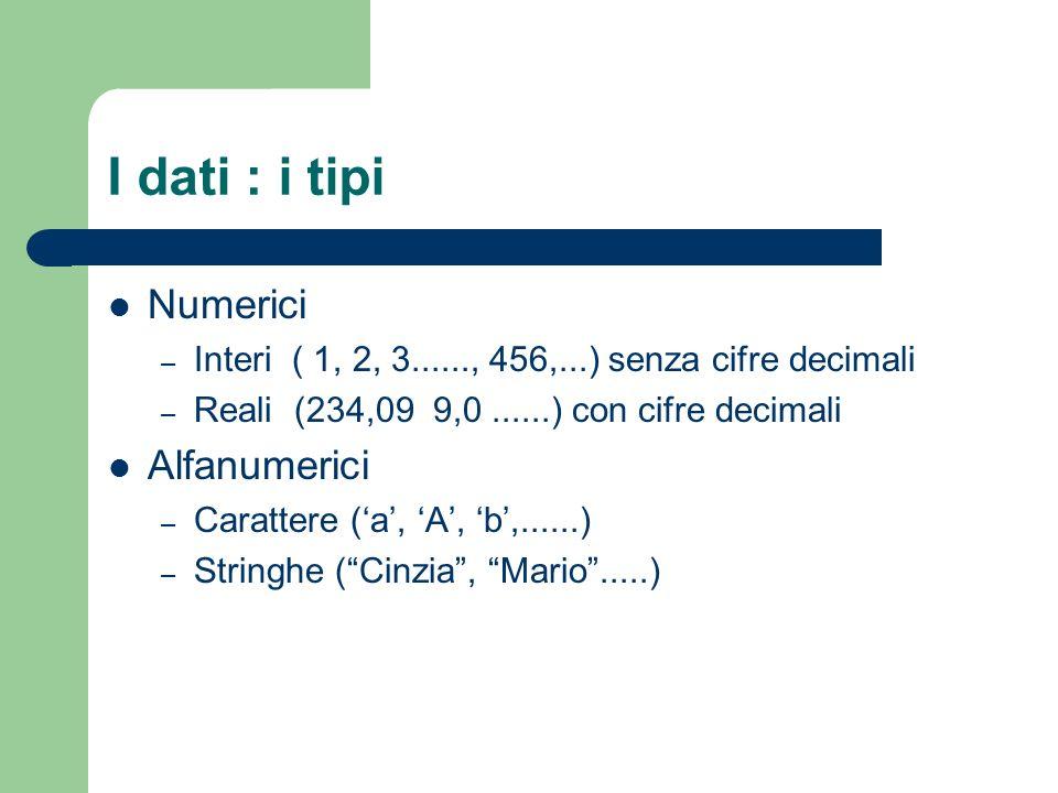 I dati : i tipi Numerici Alfanumerici