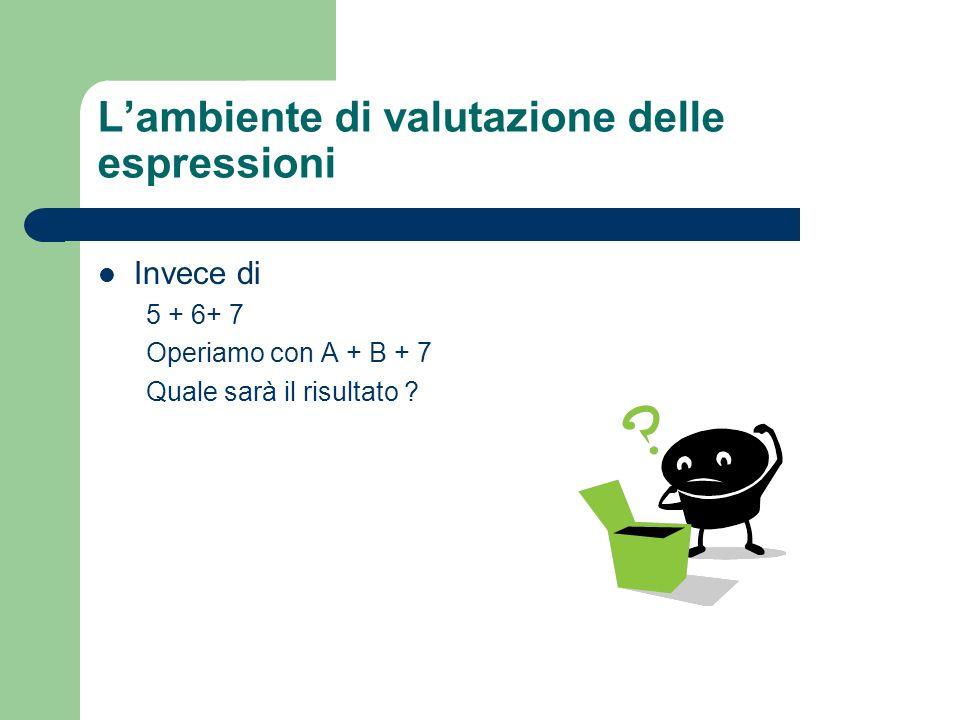 L'ambiente di valutazione delle espressioni