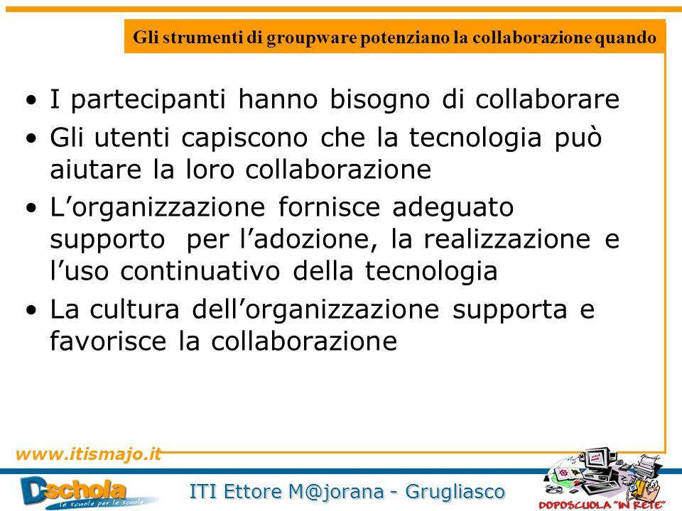 Gli strumenti di groupware potenziano la collaborazione quando