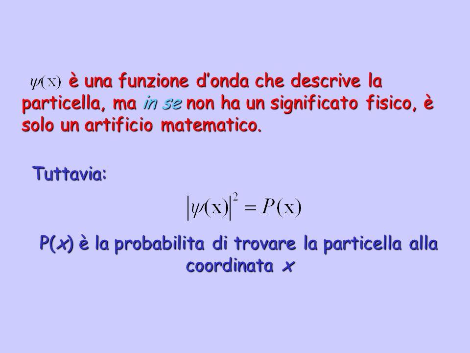 P(x) è la probabilita di trovare la particella alla coordinata x