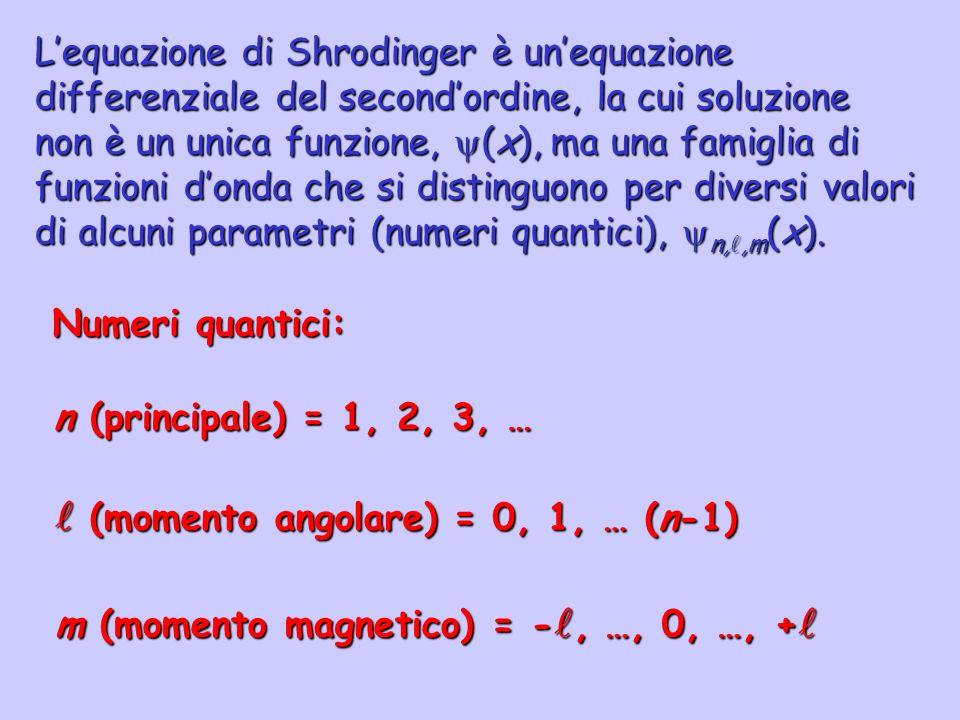  (momento angolare) = 0, 1, … (n-1)