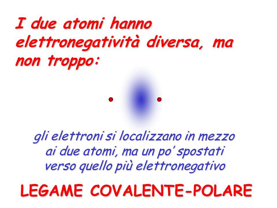 I due atomi hanno elettronegatività diversa, ma non troppo: