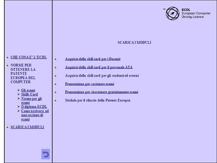 CHE COSA E' L'ECDL NORME PER OTTENERE LA PATENTE EUROPEA DEL COMPUTER. Gli esami. Skills Card.