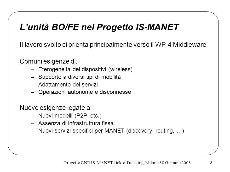 L'unità BO/FE nel Progetto IS-MANET