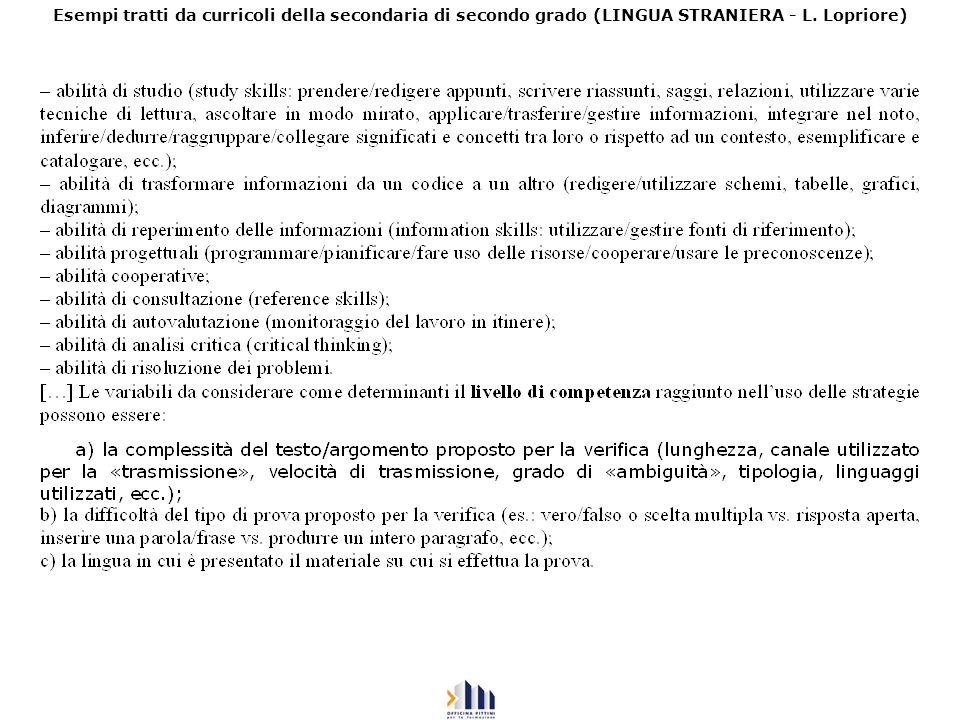Esempi tratti da curricoli della secondaria di secondo grado (LINGUA STRANIERA - L. Lopriore)