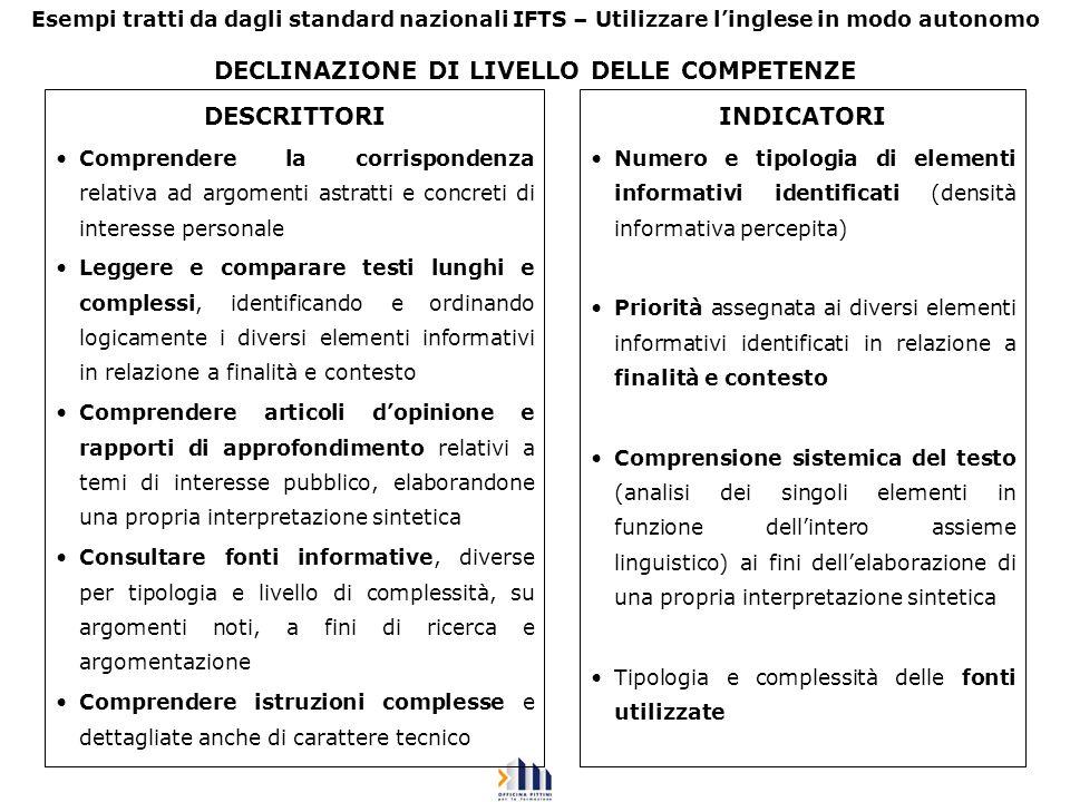DECLINAZIONE DI LIVELLO DELLE COMPETENZE