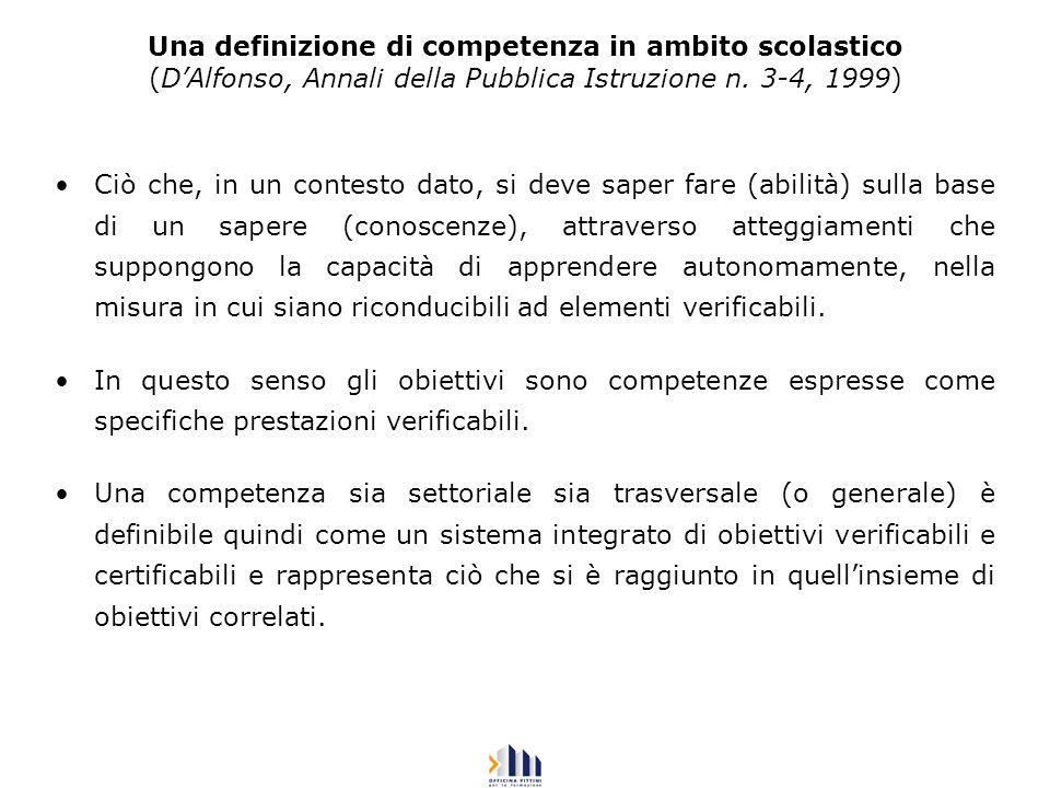 Una definizione di competenza in ambito scolastico (D'Alfonso, Annali della Pubblica Istruzione n. 3-4, 1999)