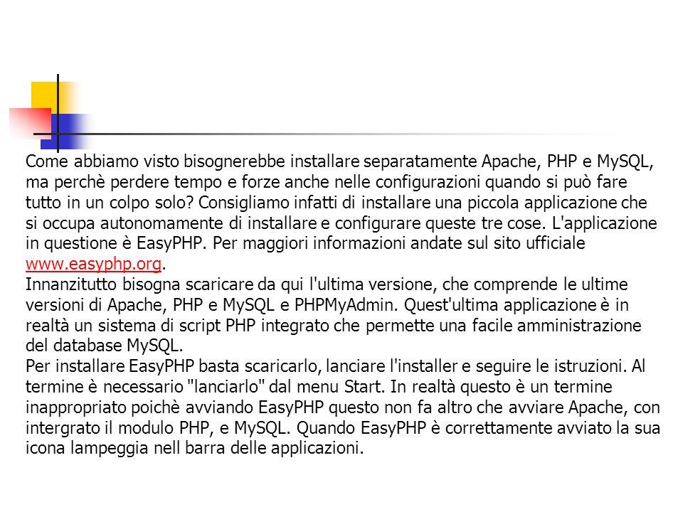 Come abbiamo visto bisognerebbe installare separatamente Apache, PHP e MySQL,