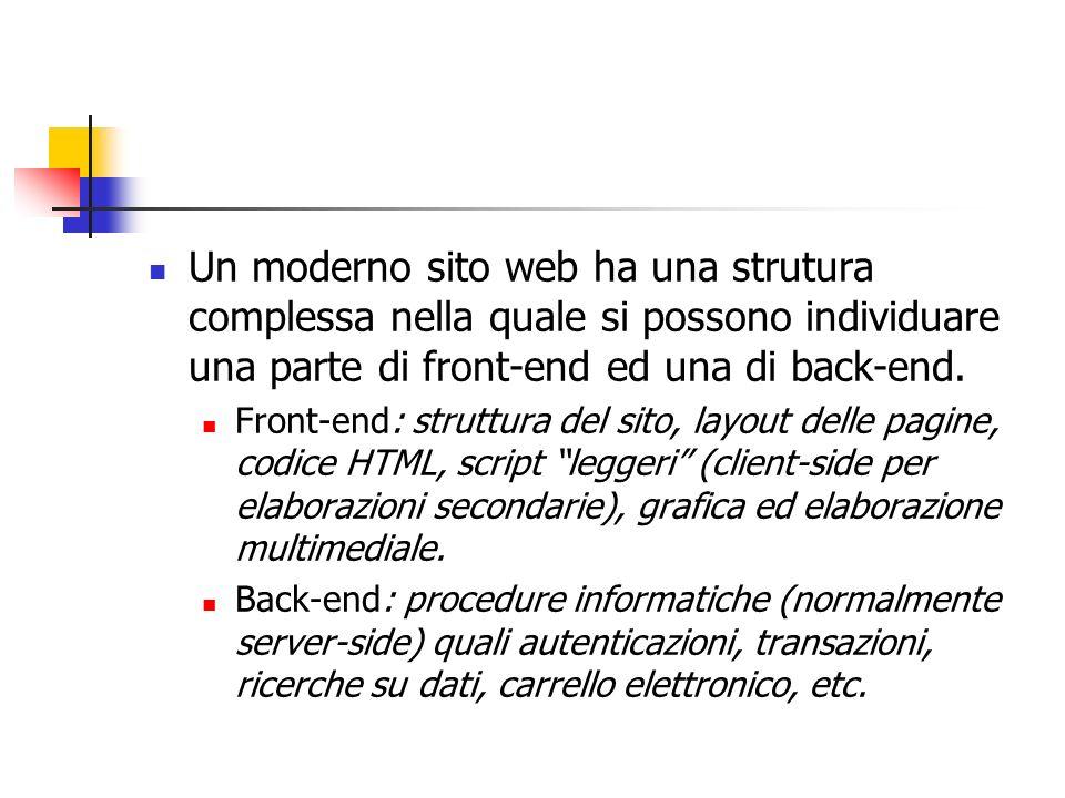 Un moderno sito web ha una strutura complessa nella quale si possono individuare una parte di front-end ed una di back-end.