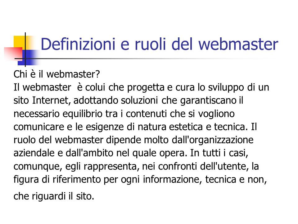 Definizioni e ruoli del webmaster