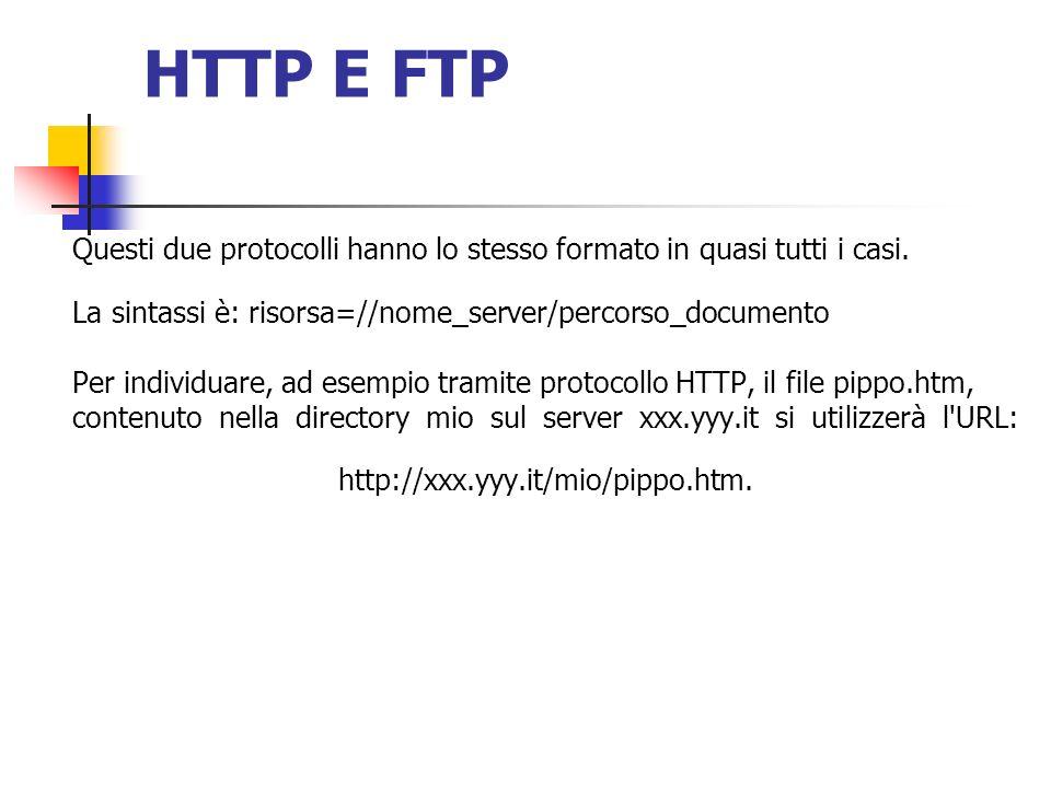HTTP E FTP Questi due protocolli hanno lo stesso formato in quasi tutti i casi. La sintassi è: risorsa=//nome_server/percorso_documento.