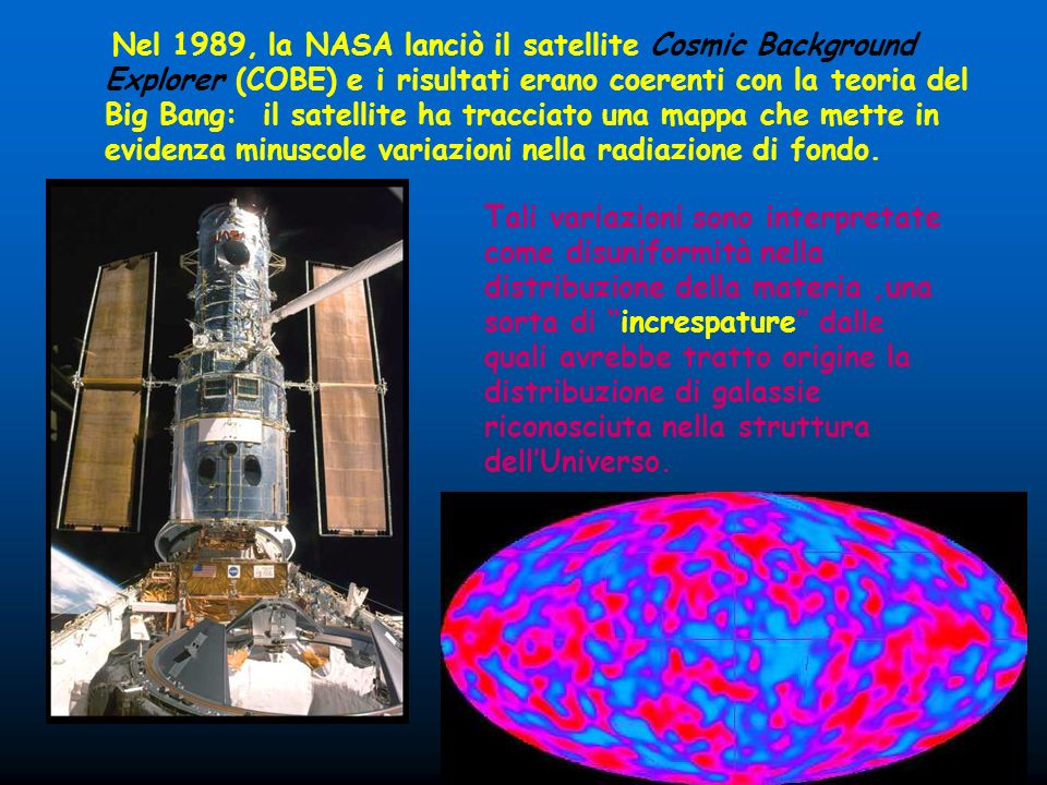 Nel 1989, la NASA lanciò il satellite Cosmic Background Explorer (COBE) e i risultati erano coerenti con la teoria del Big Bang: il satellite ha tracciato una mappa che mette in evidenza minuscole variazioni nella radiazione di fondo.
