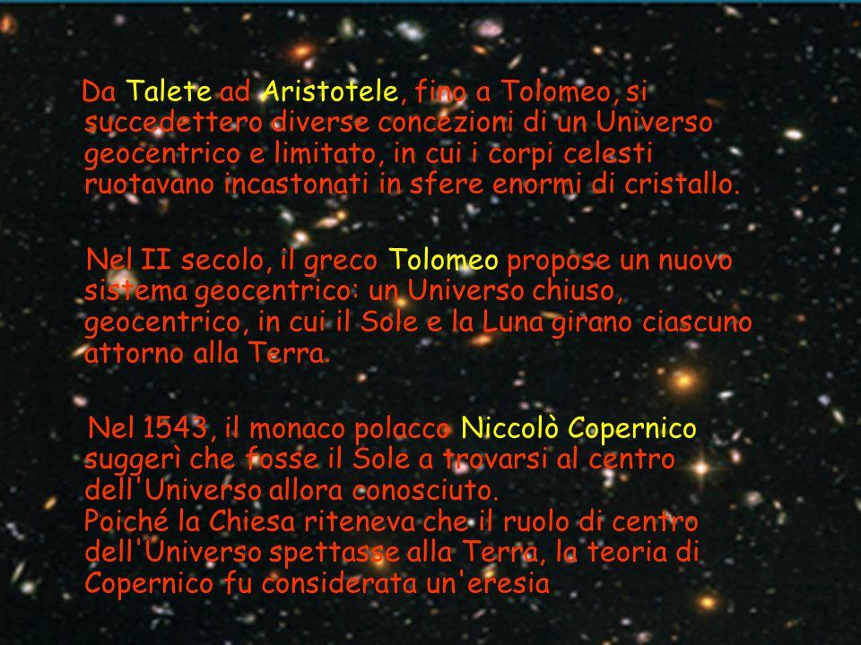 Da Talete ad Aristotele, fino a Tolomeo, si succedettero diverse concezioni di un Universo geocentrico e limitato, in cui i corpi celesti ruotavano incastonati in sfere enormi di cristallo.