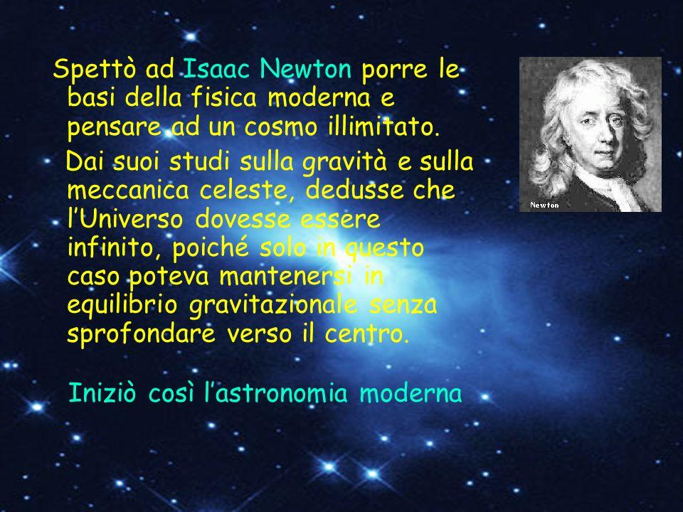 Spettò ad Isaac Newton porre le basi della fisica moderna e pensare ad un cosmo illimitato.