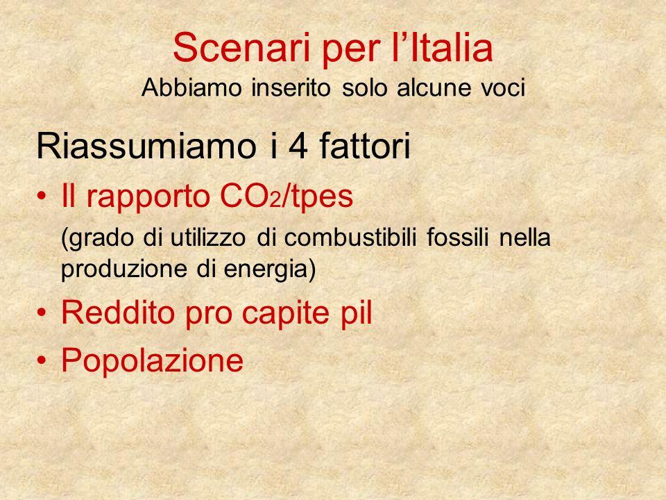Scenari per l'Italia Abbiamo inserito solo alcune voci