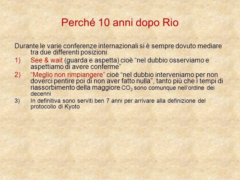 Perché 10 anni dopo Rio Durante le varie conferenze internazionali si è sempre dovuto mediare tra due differenti posizioni.