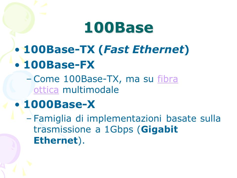 100Base 100Base-TX (Fast Ethernet) 100Base-FX 1000Base-X