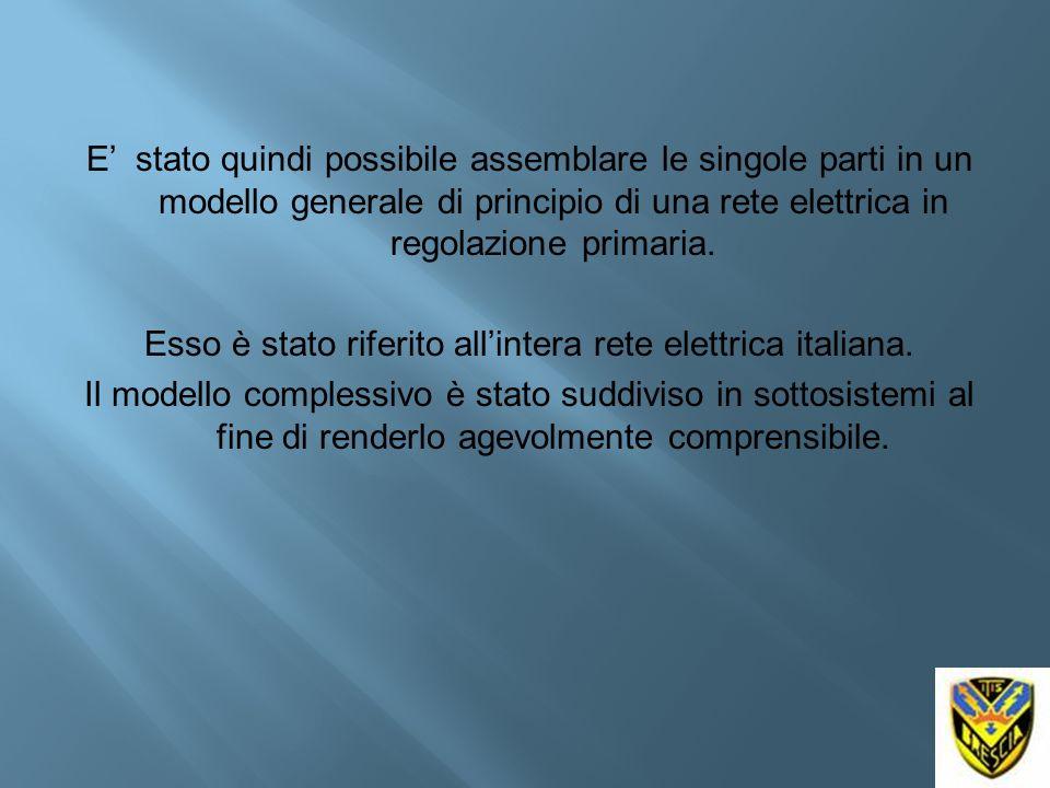 E' stato quindi possibile assemblare le singole parti in un modello generale di principio di una rete elettrica in regolazione primaria.