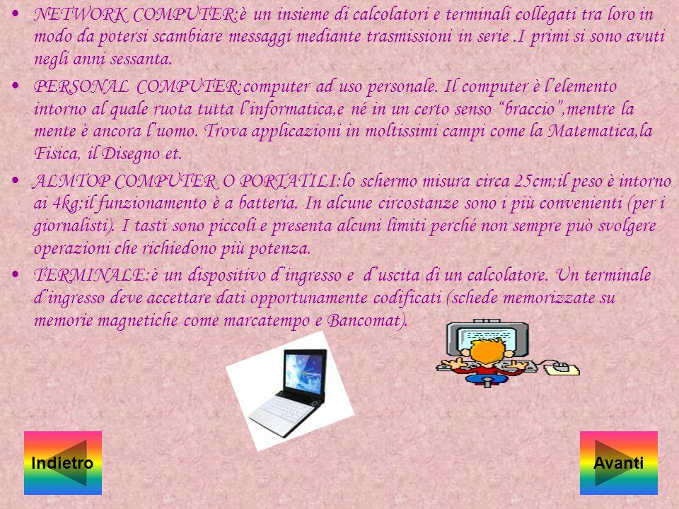 NETWORK COMPUTER:è un insieme di calcolatori e terminali collegati tra loro in modo da potersi scambiare messaggi mediante trasmissioni in serie .I primi si sono avuti negli anni sessanta.