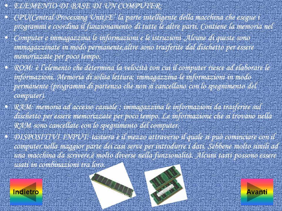 ELEMENTO DI BASE DI UN COMPUTER: