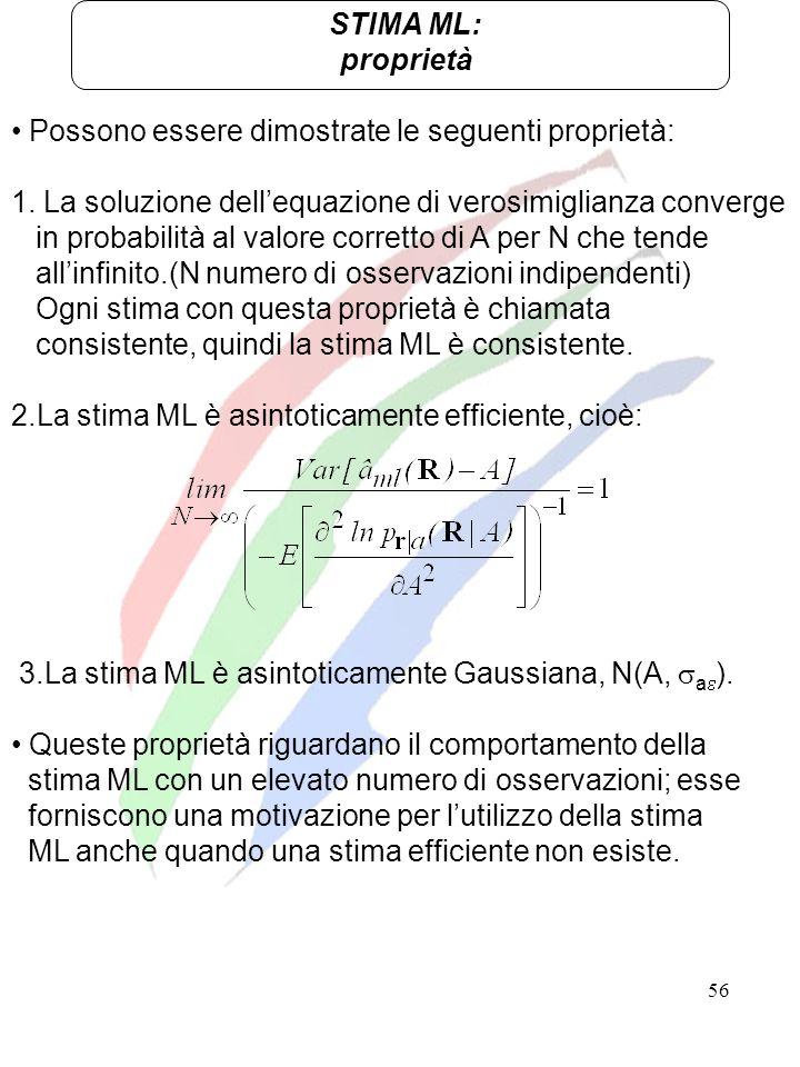STIMA ML:proprietà. Possono essere dimostrate le seguenti proprietà: 1. La soluzione dell'equazione di verosimiglianza converge.