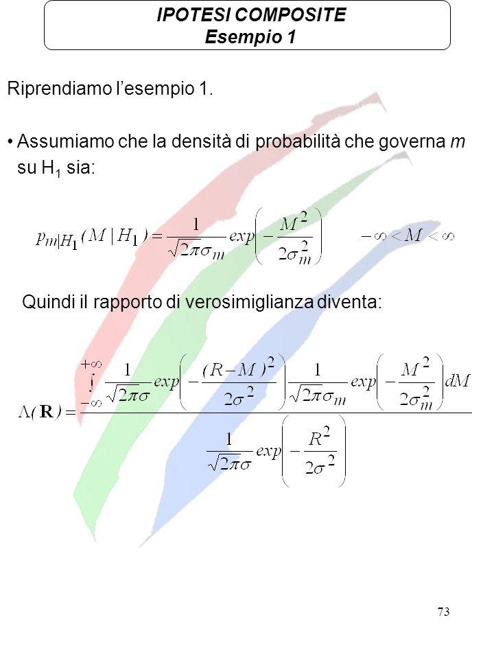 IPOTESI COMPOSITE Esempio 1. Riprendiamo l'esempio 1. Assumiamo che la densità di probabilità che governa m.