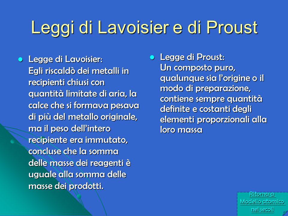 Leggi di Lavoisier e di Proust