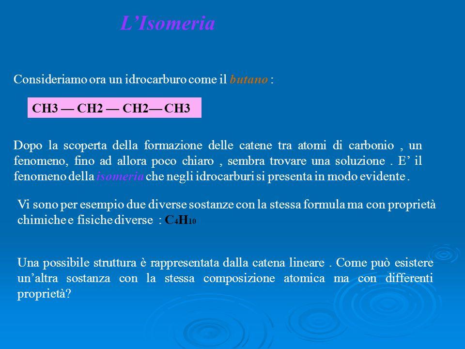 L'Isomeria Consideriamo ora un idrocarburo come il butano : CH3 — CH2 — CH2— CH3.