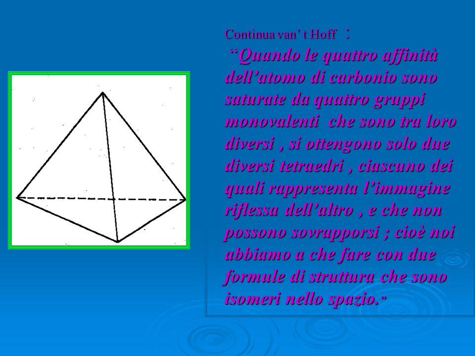 Continua van' t Hoff : Quando le quattro affinità dell'atomo di carbonio sono saturate da quattro gruppi monovalenti che sono tra loro diversi , si ottengono solo due diversi tetraedri , ciascuno dei quali rappresenta l'immagine riflessa dell'altro , e che non possono sovrapporsi ; cioè noi abbiamo a che fare con due formule di struttura che sono isomeri nello spazio.