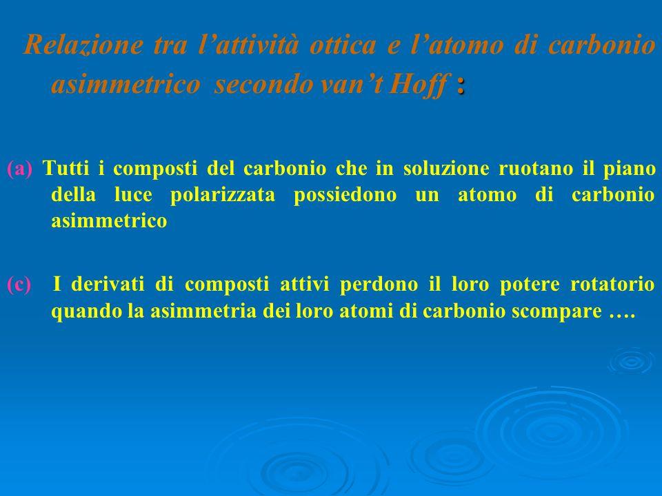 Relazione tra l'attività ottica e l'atomo di carbonio asimmetrico secondo van't Hoff :