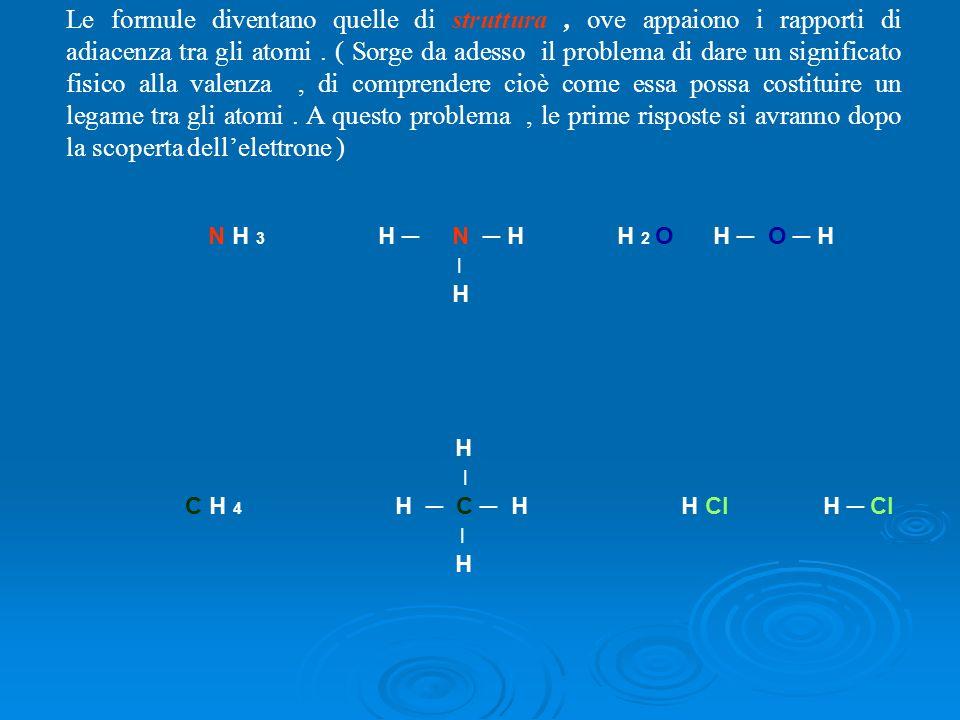 Le formule diventano quelle di struttura , ove appaiono i rapporti di adiacenza tra gli atomi . ( Sorge da adesso il problema di dare un significato fisico alla valenza , di comprendere cioè come essa possa costituire un legame tra gli atomi . A questo problema , le prime risposte si avranno dopo la scoperta dell'elettrone )