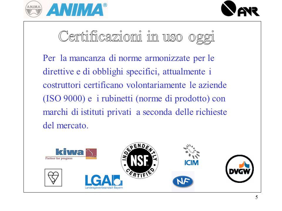 Certificazioni in uso oggi