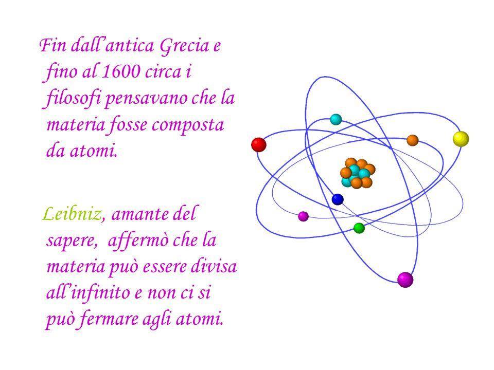 Fin dall'antica Grecia e fino al 1600 circa i filosofi pensavano che la materia fosse composta da atomi.