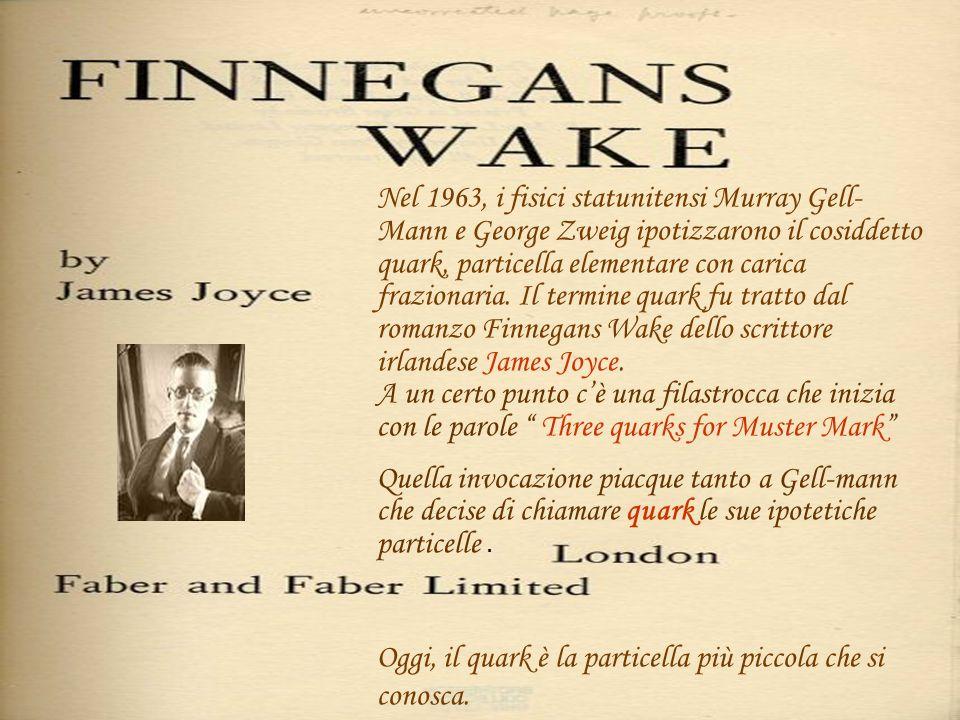 Nel 1963, i fisici statunitensi Murray Gell-Mann e George Zweig ipotizzarono il cosiddetto quark, particella elementare con carica frazionaria. Il termine quark fu tratto dal romanzo Finnegans Wake dello scrittore irlandese James Joyce. A un certo punto c'è una filastrocca che inizia con le parole Three quarks for Muster Mark
