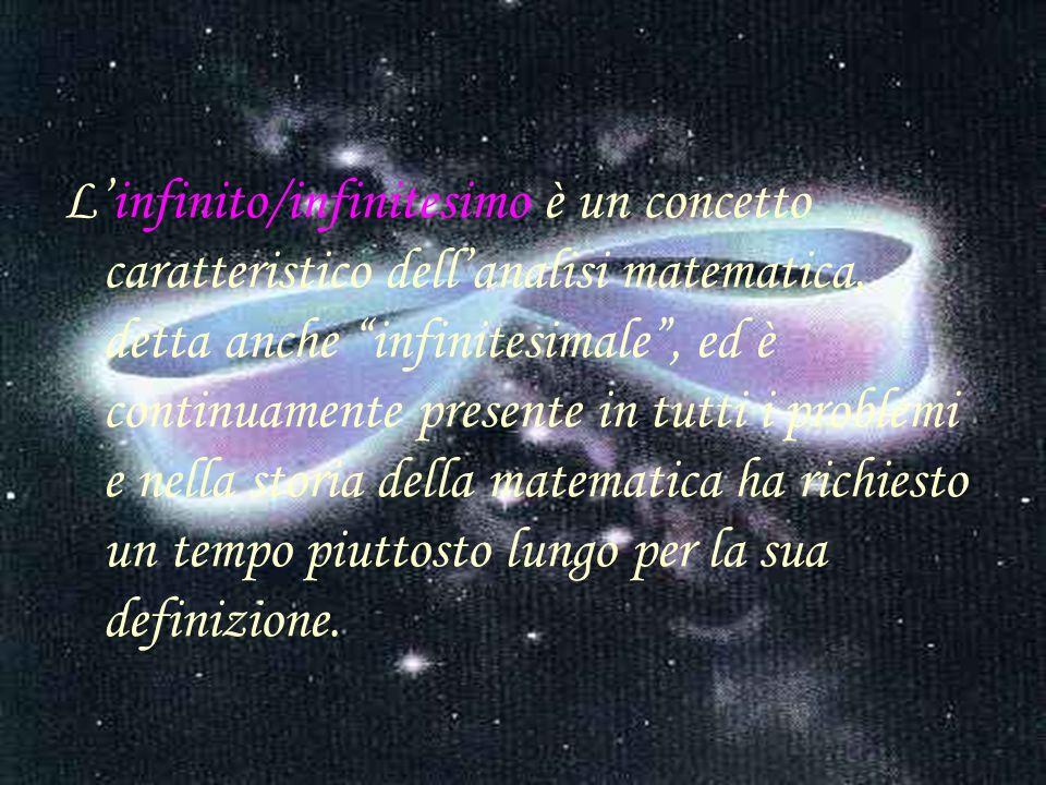 L'infinito/infinitesimo è un concetto caratteristico dell'analisi matematica, detta anche infinitesimale , ed è continuamente presente in tutti i problemi e nella storia della matematica ha richiesto un tempo piuttosto lungo per la sua definizione.